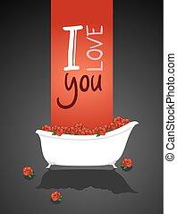 messaggio, vasca bagno, amore, bello