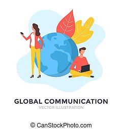 messaging , εικόνα , online , διαμέρισμα , concepts., κοινωνικός , μέσα ενημέρωσης , ψηφιακός , communication., ακόλουθοι. , τεχνολογία , καθολικός , μικροβιοφορέας , design., επιχείρηση