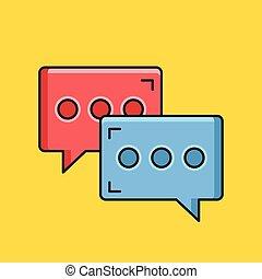 messaging, icon., vektor, ögonblick, pratstund