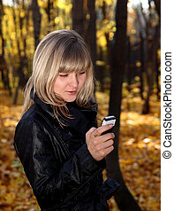 messaging, menina, telefone