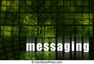 Messaging on a Green Abstract Tech Background