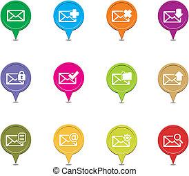 messaging, ponteiro, coloridos, conjuntos