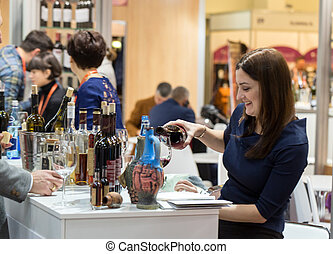 messe, polen, enoexpo, handeln, cracow., international, wein