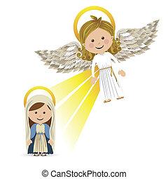 messenger angel over white background vector illustration