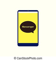 Messenger app icon on flat phone screen with speech bubble logo
