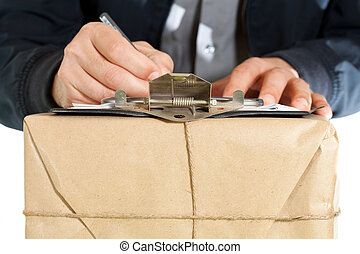 Messenger delivering a package - Messenger with your...