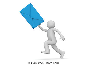 Messenger - human with blue envelope - 3d isolated on white...