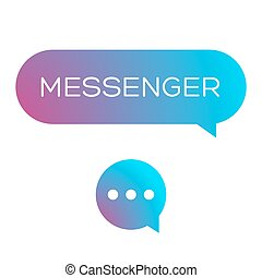 Messenger icon vector set blue