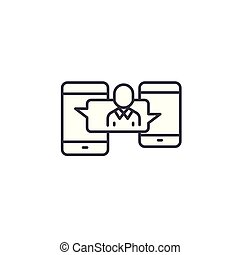 Messenger linear icon concept. Messenger line vector sign, symbol, illustration.
