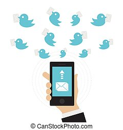 messenger - man send message with bird, communication...