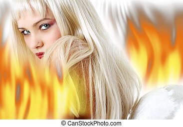 messenger - lovely blond with angel wings surrounded by fire