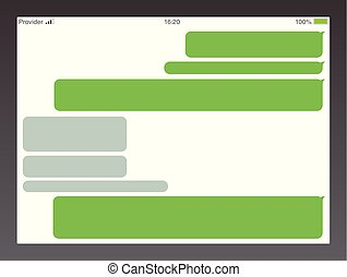 Messenger short message service bubbles. Text chat sms boxes. Empty messaging bubles template.