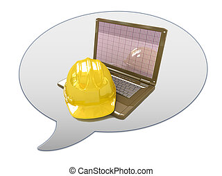 messenger window icon and hard hat. Technical engineer...