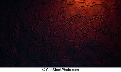 Men riding horses in middle ages wall art carving
