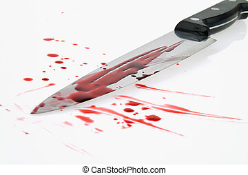 messer, mit, blood., crime., a, mord, weapon.
