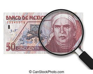 messicano, -, 50, lente ingrandimento, pesi, fronte, lato