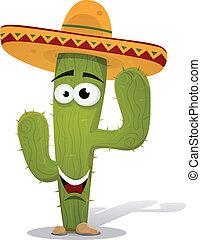 messicano, cactus, carattere, cartone animato