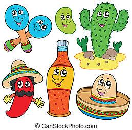 messicano, cartone animato, collezione