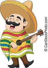 messicano, chitarra esegue, canto, cartone animato, uomo
