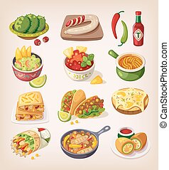 messicano cibo, colorito