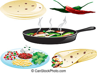 messicano cibo, icone