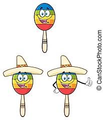 messicano, colorito, collezione, maracas