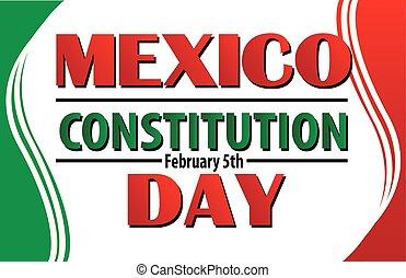 messicano, costituzione, bandiera messico, bordo, giorno