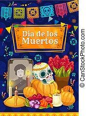 messicano, cranio, altare, morto, zucchero, giorno