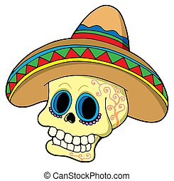 messicano, cranio, in, sombrero