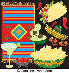messicano, elementi, fiesta, festa