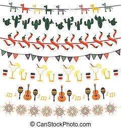 messicano, festivo, bandiere, appendere, garlands, bandiere