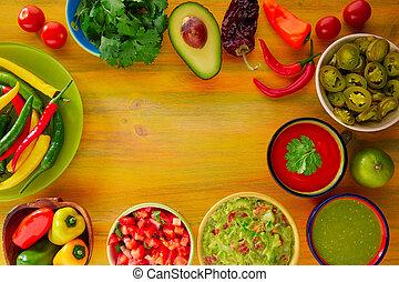 messicano, guacamole, cibo, mescolato, nachos, salsa, ...