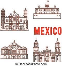messicano, icone, vettore, architettura