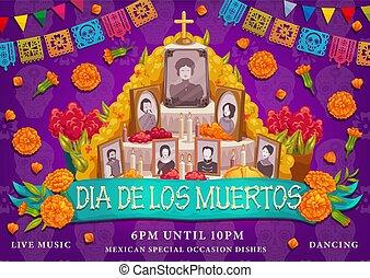 messicano, los, altare, de, dia, vacanza, foto, muertos