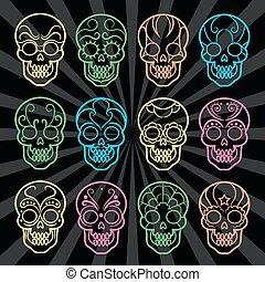 messicano, luminoso, crani, collezione