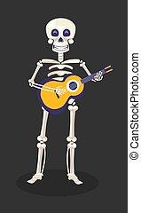 messicano, scheletro, chitarra, morto, vacanza, giorno