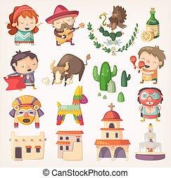 messicano, set, con, locale, elementi, e