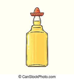 messicano, sombrero, alcolico, tequila, bevanda, tradizionale, bottle.