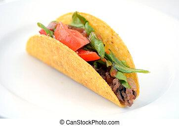 messicano, taco, servito, su, uno, piastra bianca