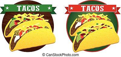 messicano, vettore, bandiera, taco