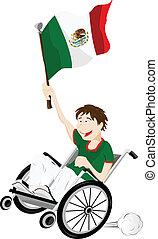 messico, carrozzella, bandiera, ventilatore, sport, sostenitore