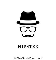 messieurs, vecteur, ou, illustration, hipster.