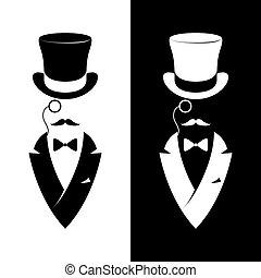 messieurs, vendange, étiquette, club.