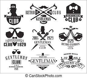 messieurs, vendange, club, collection, logos