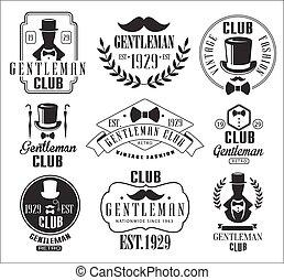 messieurs, vendange, club, ensemble, logos