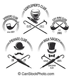 messieurs, vendange, ensemble, emblème, club