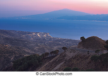 Messina strait after sunset - View on Messina strait from...