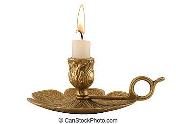 messing, candleholder, -, horizontaal
