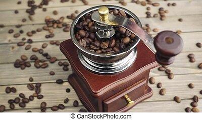 messing, koffie, malen, molen, hand