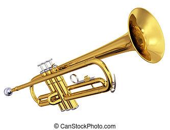 messing, trompete, weißer hintergrund